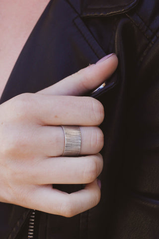 Wide Band Textured Ring