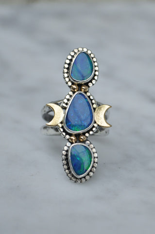 Cosmic Opal Statement Ring Size 6.25