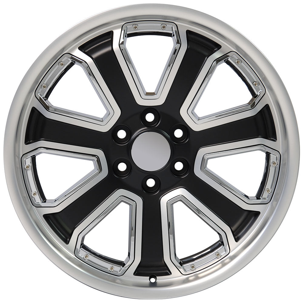 "22"" fits Chevrolet - Silverado Deep Dish Wheel Replica - Satin Black Machined Face with Chrome Inserts 22x9.5 