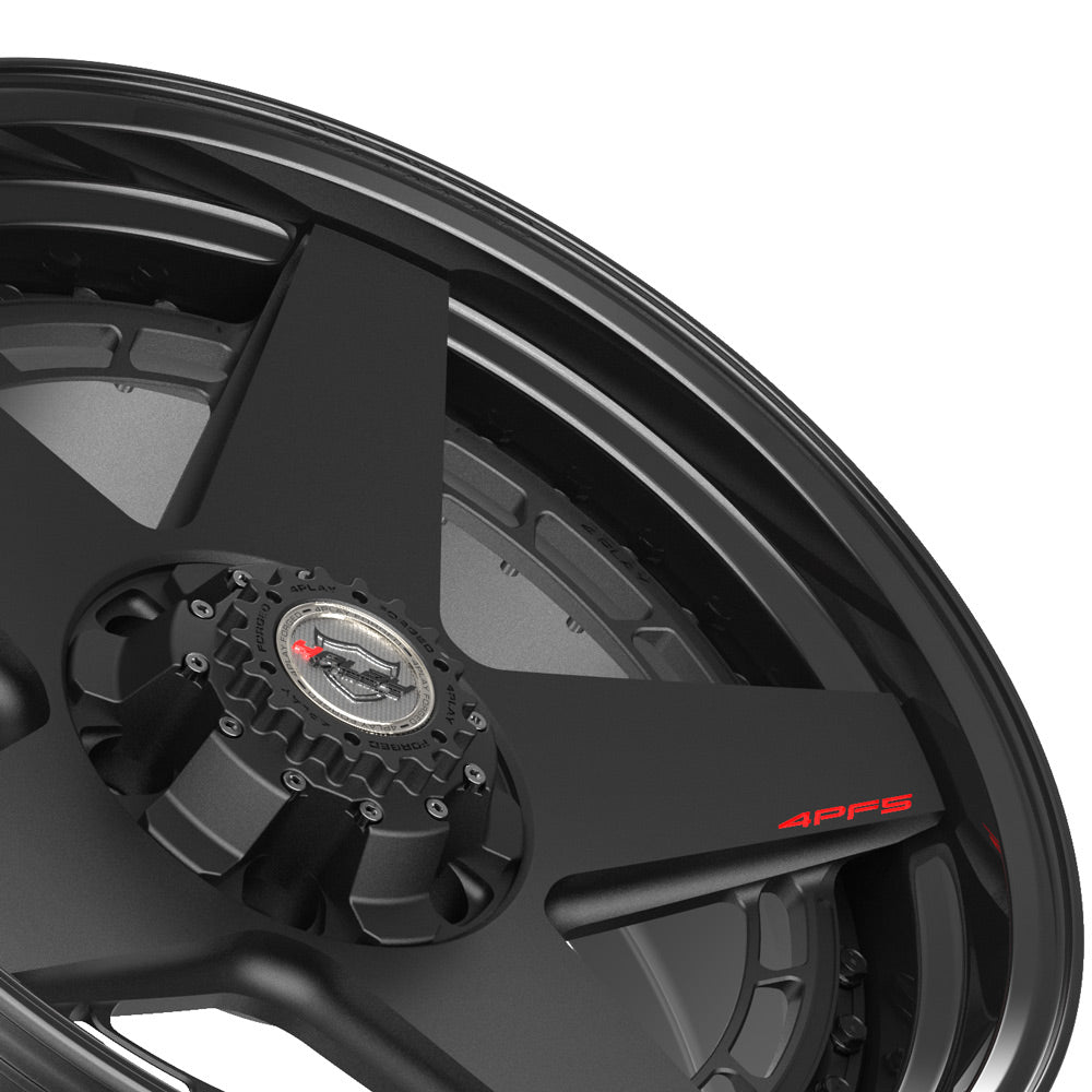20x9 4PLAY Wheel for GM-Ford-Lincoln-Nissan-Toyota 4PF5 - Gloss Black Barrel with Matte Center|Suncoast Wheels high quality affordable replacement rims, replica OEM stock wheels, quality budget rims