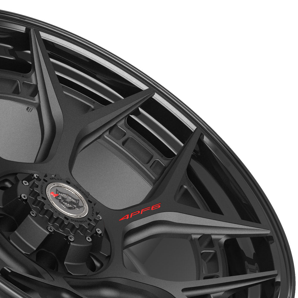 22x10 4PLAY Wheel for GM-Ford-Lincoln-Nissan-Toyota 4PF6 - Gloss Black Barrel with Matte Center|Suncoast Wheels high quality affordable replacement rims, replica OEM stock wheels, quality budget rims