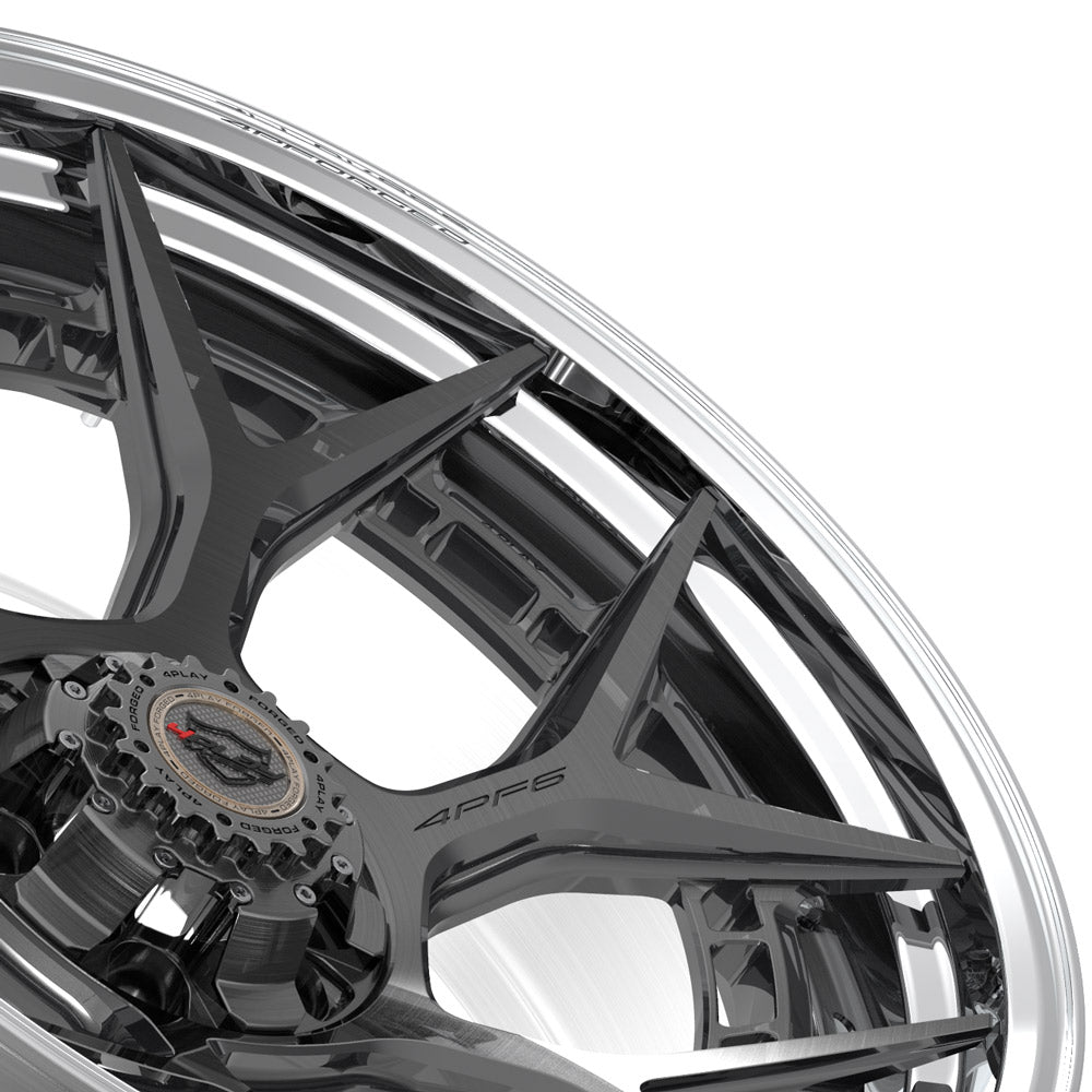 22x10 4PLAY Wheel for GM-Ford-Lincoln-Nissan-Toyota 4PF6 - Polished Barrel with Tinted Clear Center|Suncoast Wheels high quality affordable replacement rims, replica OEM stock wheels, quality budget rims