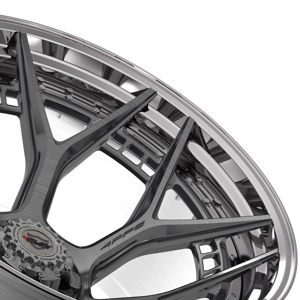 24x14 4PLAY Wheel for GM-Ford-Lincoln-Nissan-Toyota 4PF6 - Polished Barrel with Tinted Clear Center
