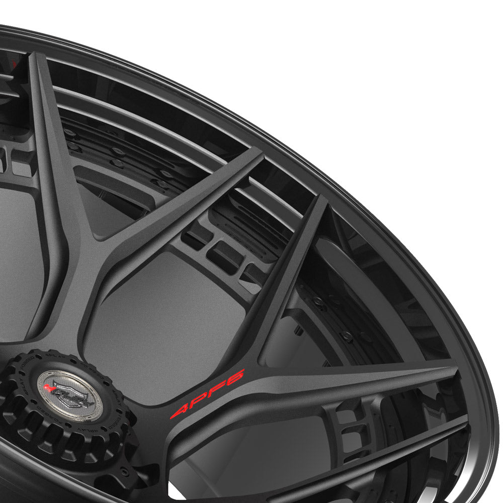 24x14 4PLAY Wheel for GM-Ford-Dodge-Hummer 4PF6 - Gloss Black Barrel with Matte Center|Suncoast Wheels high quality affordable replacement rims, replica OEM stock wheels, quality budget rims