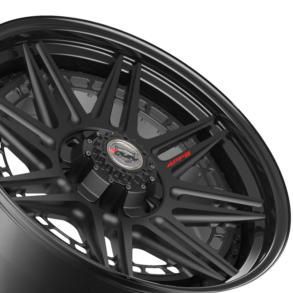 20x9 4PLAY Wheel for GM-Ford-Lincoln-Nissan-Toyota 4PF8 - Gloss Black Barrel with Matte Center|Suncoast Wheels high quality affordable replacement rims, replica OEM stock wheels, quality budget rims