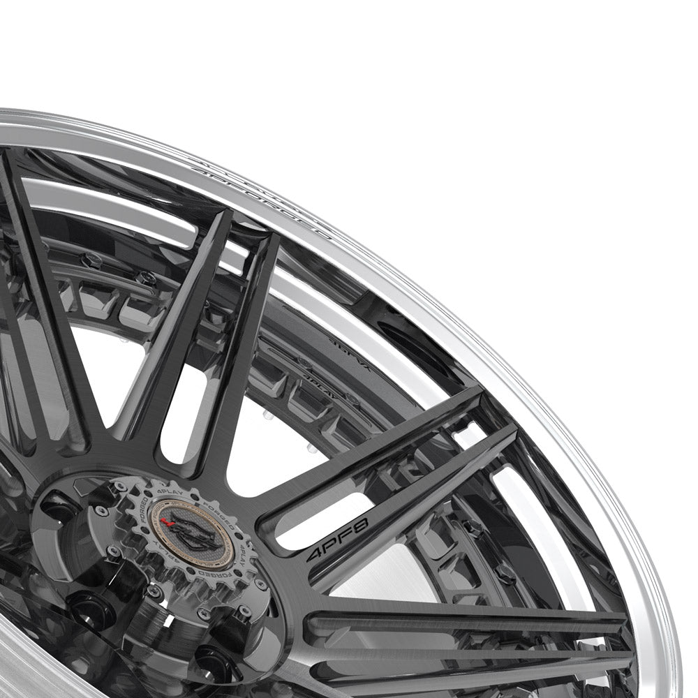 22x10 4PLAY Wheel for Ram-Dodge-Jeep-GM-Ford 4PF8 - Polished Barrel with Tinted Clear Center|Suncoast Wheels high quality affordable replacement rims, replica OEM stock wheels, quality budget rims