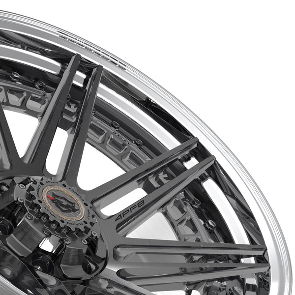 22x10 4PLAY Wheel for GM-Ford-Lincoln-Nissan-Toyota 4PF8 - Polished Barrel with Tinted Clear Center|Suncoast Wheels high quality affordable replacement rims, replica OEM stock wheels, quality budget rims