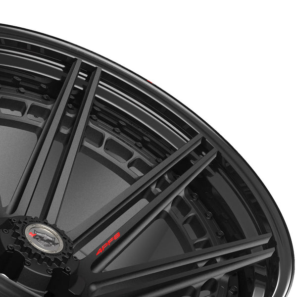 24x14 4PLAY Wheel for Ram-Dodge-Jeep-GM-Ford 4PF8 - Gloss Black Barrel with Matte Center|Suncoast Wheels high quality affordable replacement rims, replica OEM stock wheels, quality budget rims