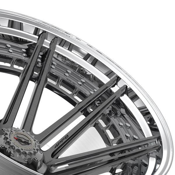 24x14 4PLAY Wheel for Ram-Dodge-Jeep-GM-Ford 4PF8 - Polished Barrel with Tinted Clear Center|Suncoast Wheels high quality affordable replacement rims, replica OEM stock wheels, quality budget rims
