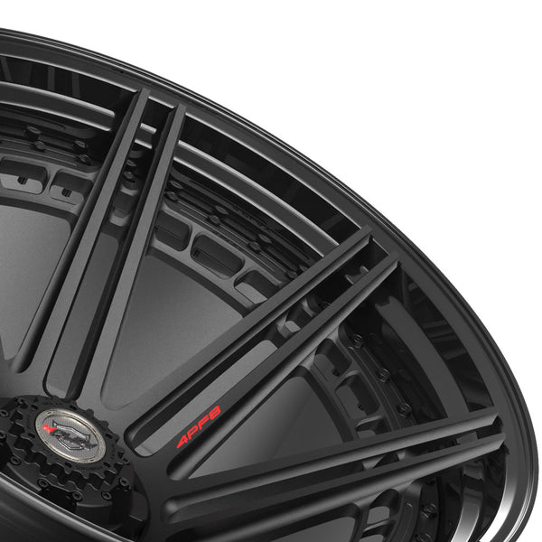 24x14 4PLAY Wheel for GM-Ford-Lincoln-Nissan-Toyota 4PF8 - Gloss Black Barrel with Matte Center|Suncoast Wheels high quality affordable replacement rims, replica OEM stock wheels, quality budget rims
