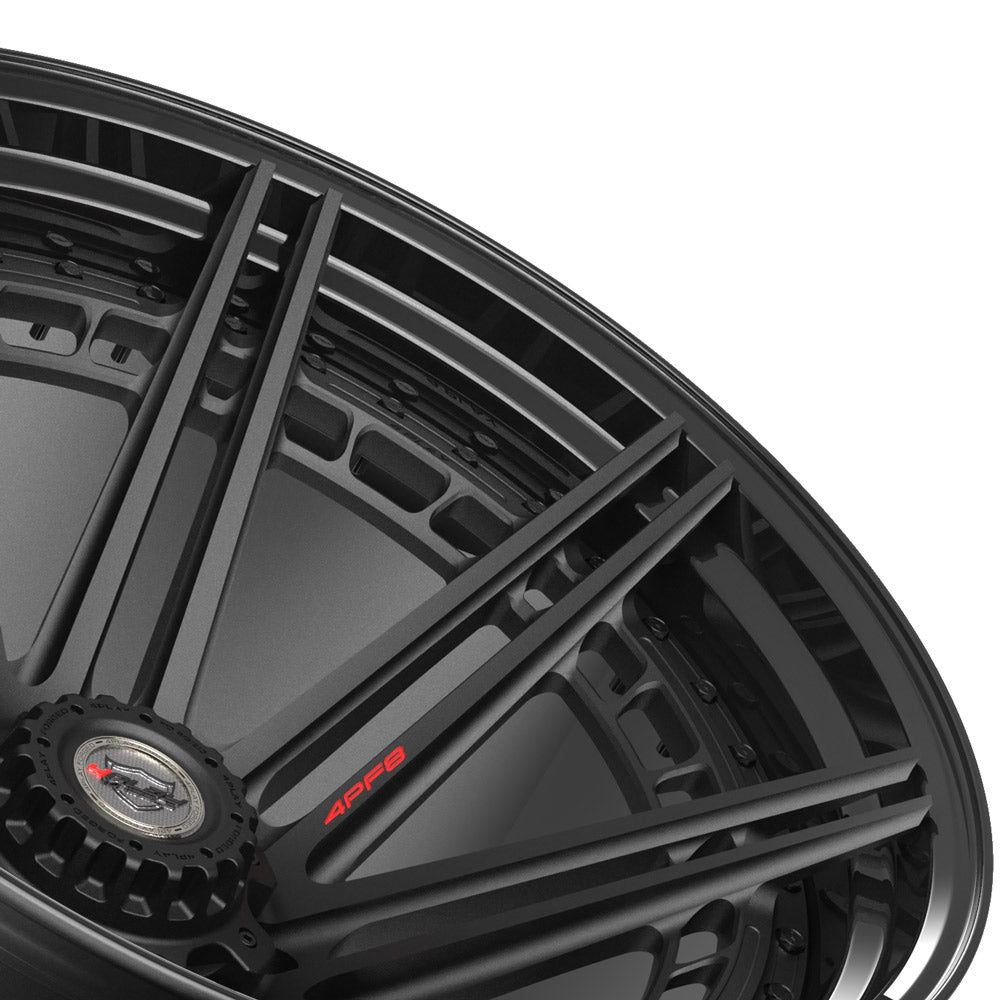 24x14 4PLAY Wheel for GM-Ford-Dodge-Hummer 4PF8 - Gloss Black Barrel with Matte Center|Suncoast Wheels high quality affordable replacement rims, replica OEM stock wheels, quality budget rims