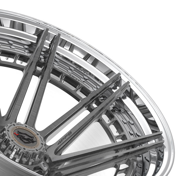 24x14 4PLAY Wheel for Chevy-GMC 4PF8 - Polished Barrel with Tinted Clear Center|Suncoast Wheels high quality affordable replacement rims, replica OEM stock wheels, quality budget rims