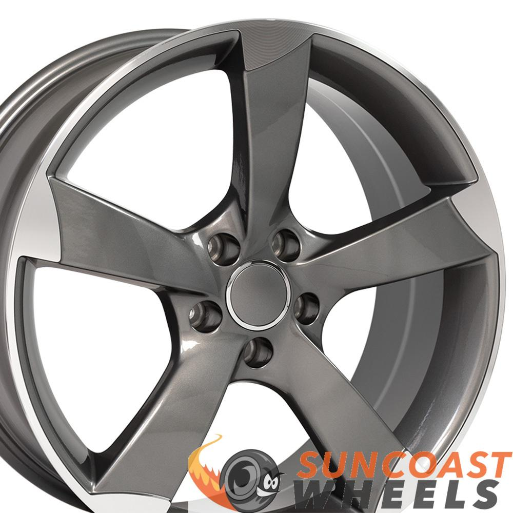 19 inch Rim Fits Audi A Series RS4 Style AU29 19x8.5 Gunmetal Machined Wheel