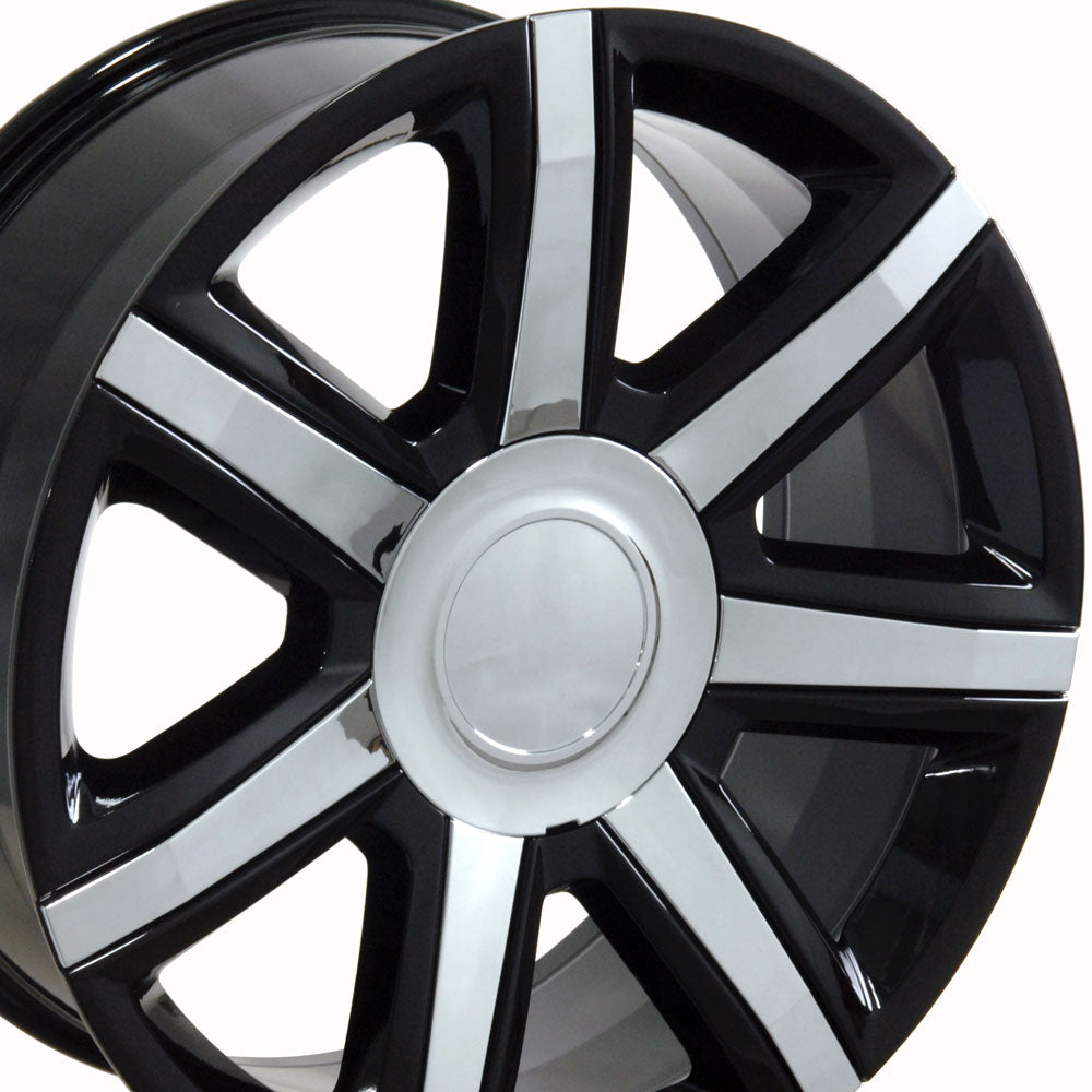 "22"" Fits Cadillac - Escalade Style Replica Wheel - Black with Chrome Insert 22x9 