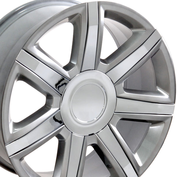 "22"" Fits Cadillac - Escalade Style Replica Wheel - Hyper Silver with Chrome Insert 22x9 