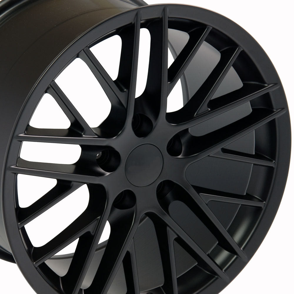 "18"" Fits Chevrolet - C6 ZR1 Wheel Replica - Satin Black 18x8.5 