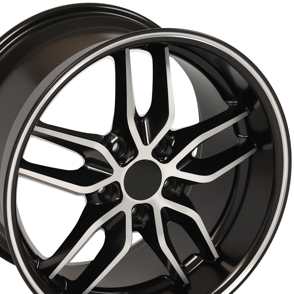 "17"" Fits Chevrolet - Corvette Stingray Style Replica Wheel - Satin Black with a Mach'd Face 17x9.5 