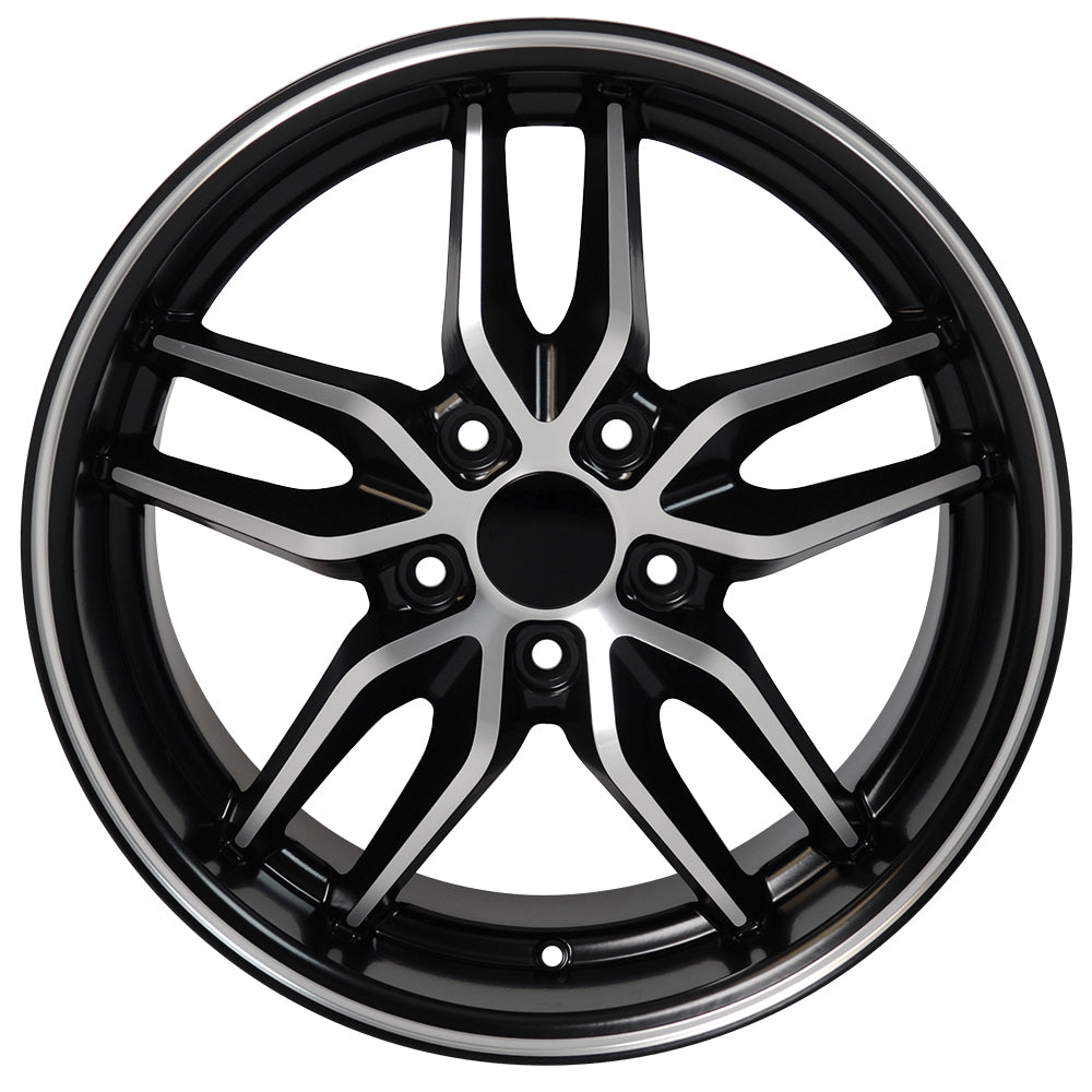 "17"" fits Chevrolet - Corvette Deep Dish Wheel Replica - Satin Black Machined Face 17x9.5 