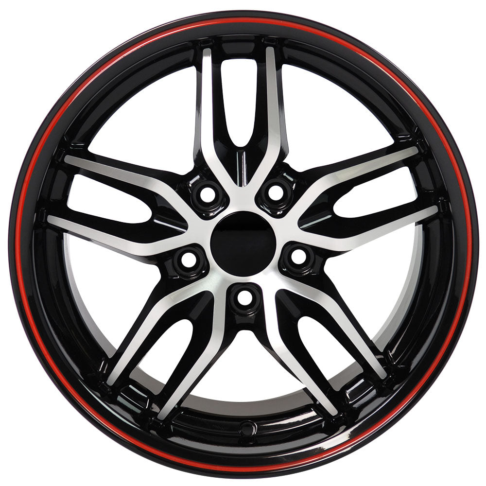 "18"" fits Chevrolet - Corvette Deep Dish Wheel Replica - Black Machined Face with Red Band 18x1.5 
