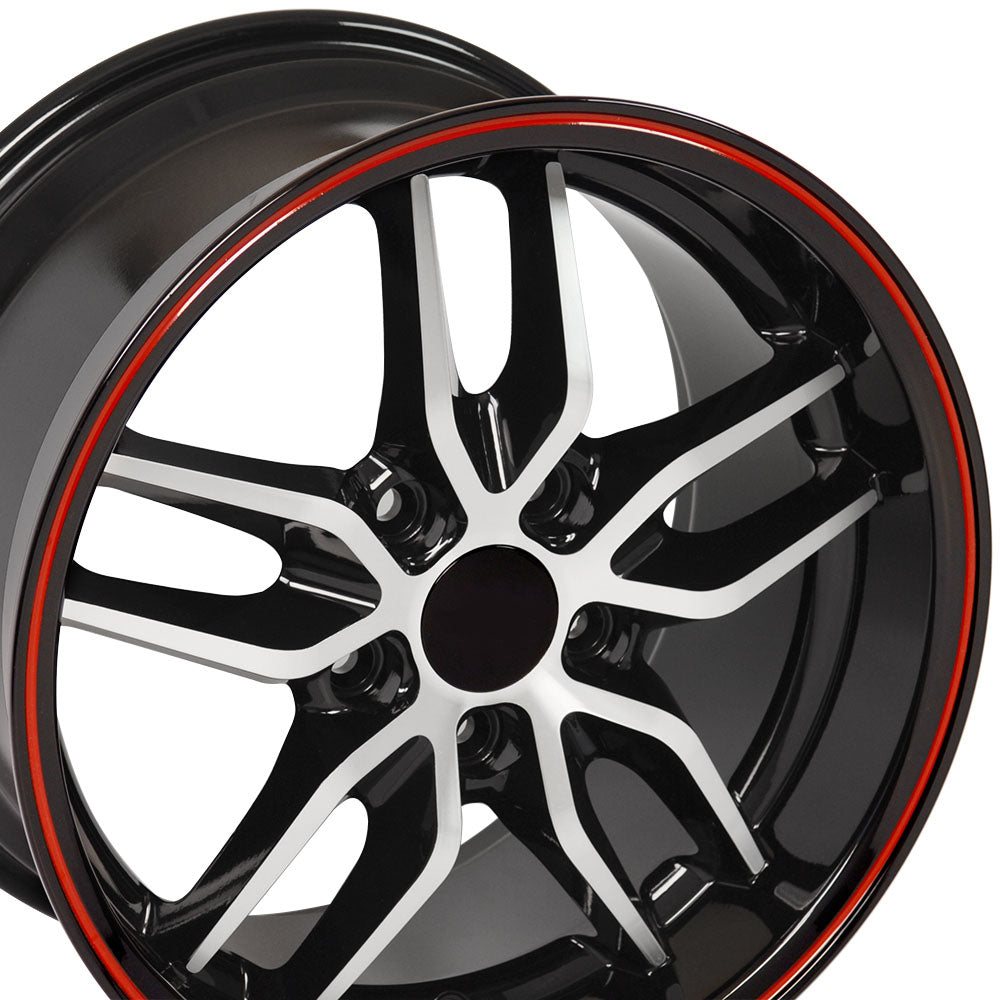 "17"" fits Chevrolet - Corvette Deep Dish Wheel Replica - Black Machined Face with Red Band 17x9.5 