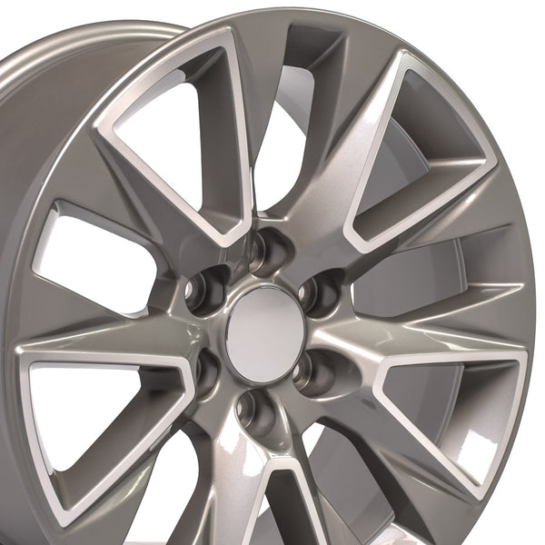 20x9-inch Rim Fits Chevy Silverado LTZ Silver Machined Chevy Truck Wheel