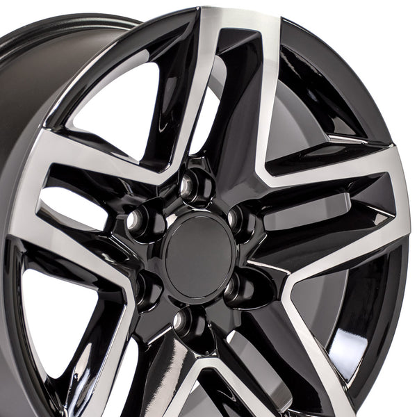 18 inch Rim Fits Chevy Trail Boss CV34 Machined Black Chevy Truck Wheel