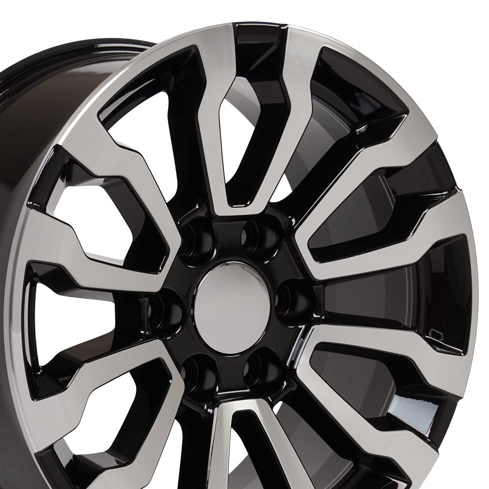 Fits GMC Sierra Rim - CV35 18x8.5 Black Machined Sierra AT4 Wheel