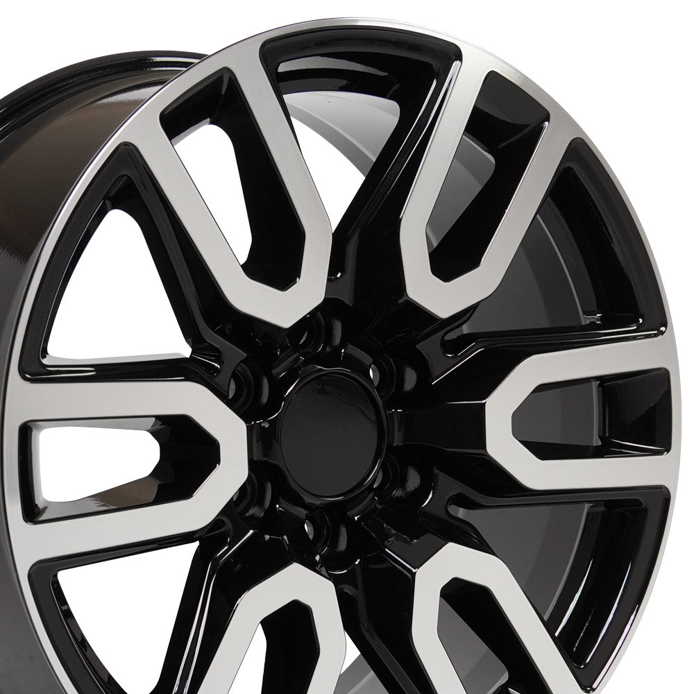 Fits GMC Sierra Rim - CV36 20x9 Black Machined Sierra Wheel