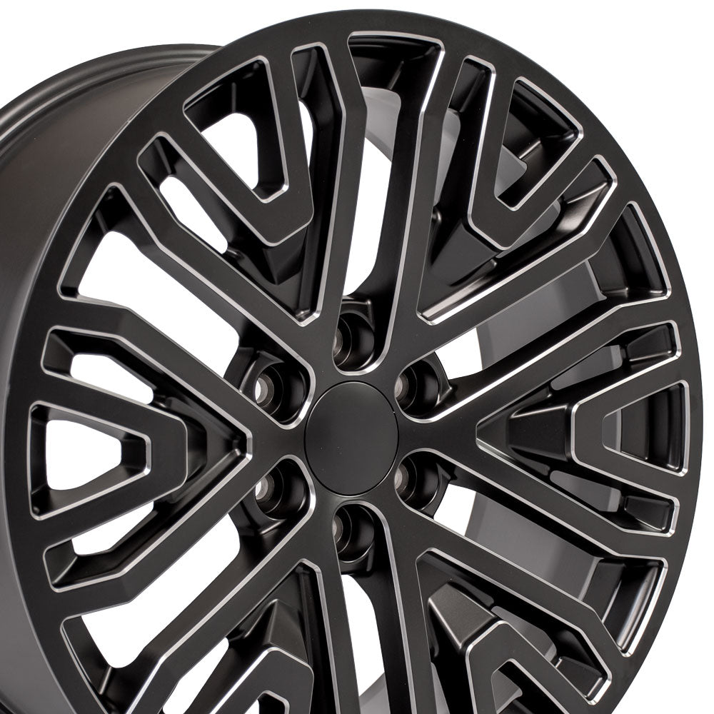22 inch Rim Fits Next Gen Sierra CV37 22x9 Black Milled Chevy Truck Wheel