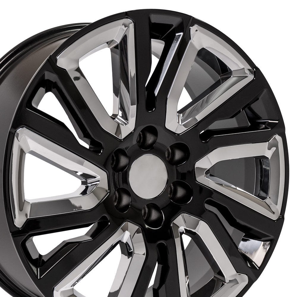 "22"" Rim fits 2019 GMC Sierra 22x9 Black w/Chrome Wheel"