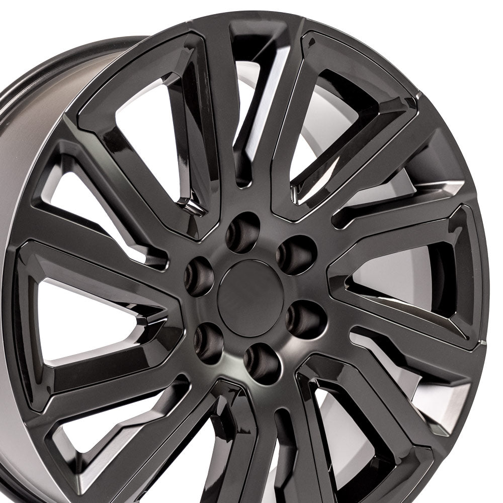"22"" Satin Black with Gloss Black Insert Rims fit GMC Sierra 1500 22x9"