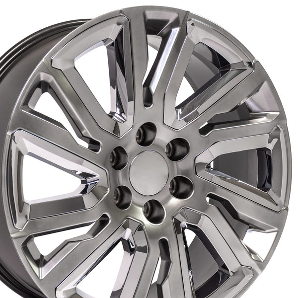 "22"" Wheel fits 2019 GMC Sierra 1500 22x9 Hyper Black w/Chrome Rim"