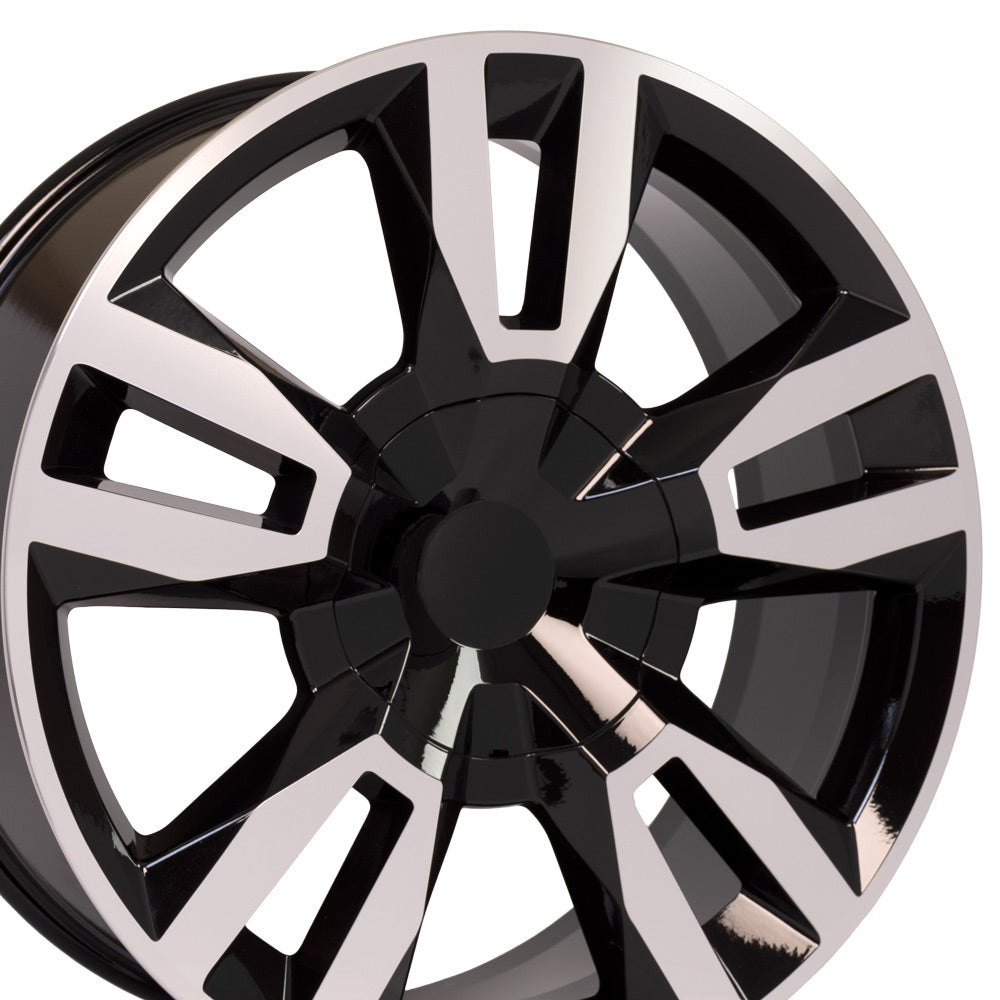 "22"" Rim fits Tahoe RST Rally Style Blk Mach'd 22x9 Wheel Hollander 5821"