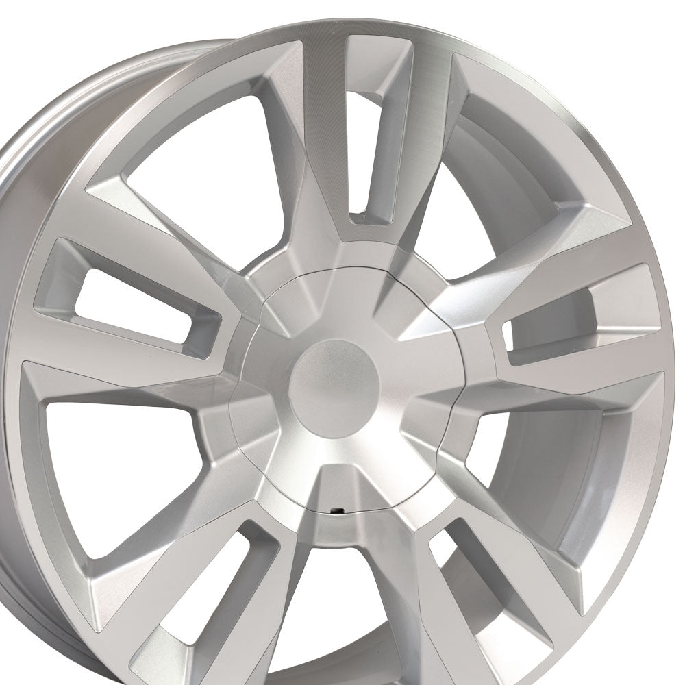 "22"" Rim fits Tahoe RST Rally Style Silver Mach'd 22x9 Wheel Hollander 5821"