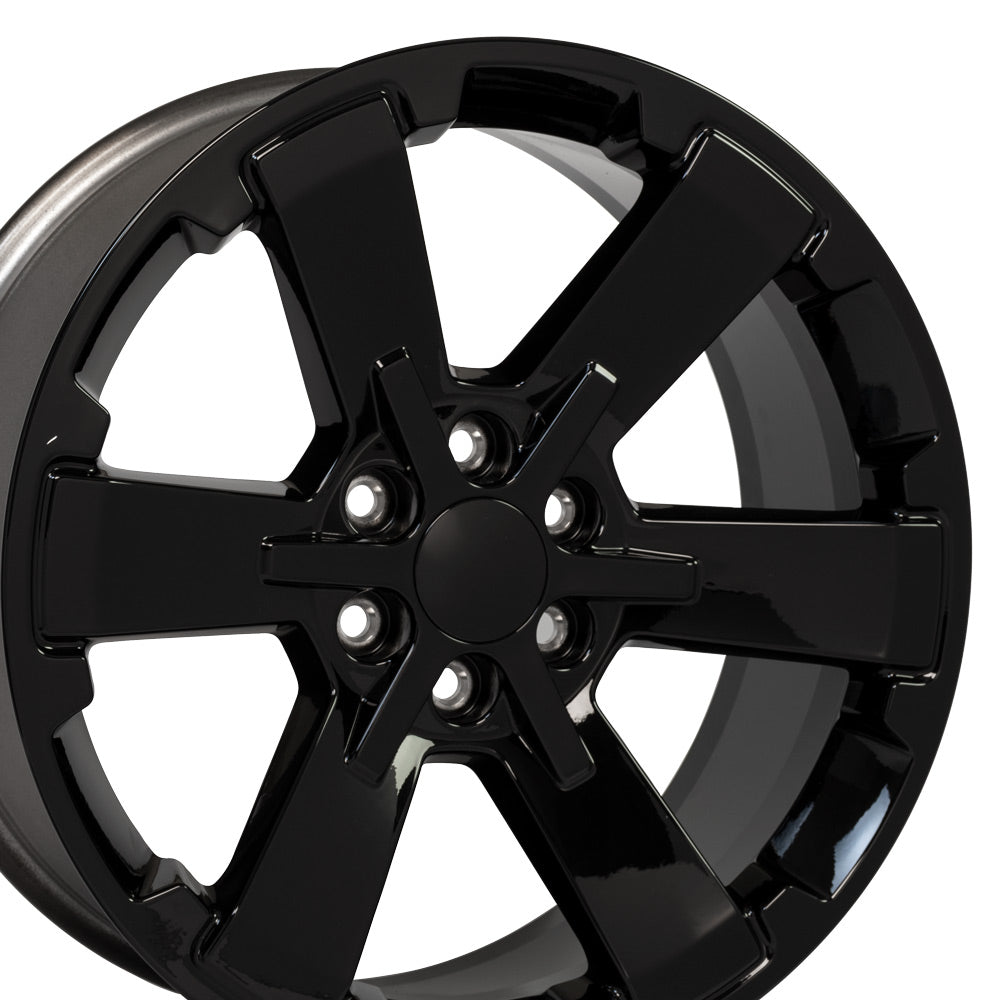 "22"" Rim fits Silverado Rally Style Black 22x9 Wheel Hollander 5662"