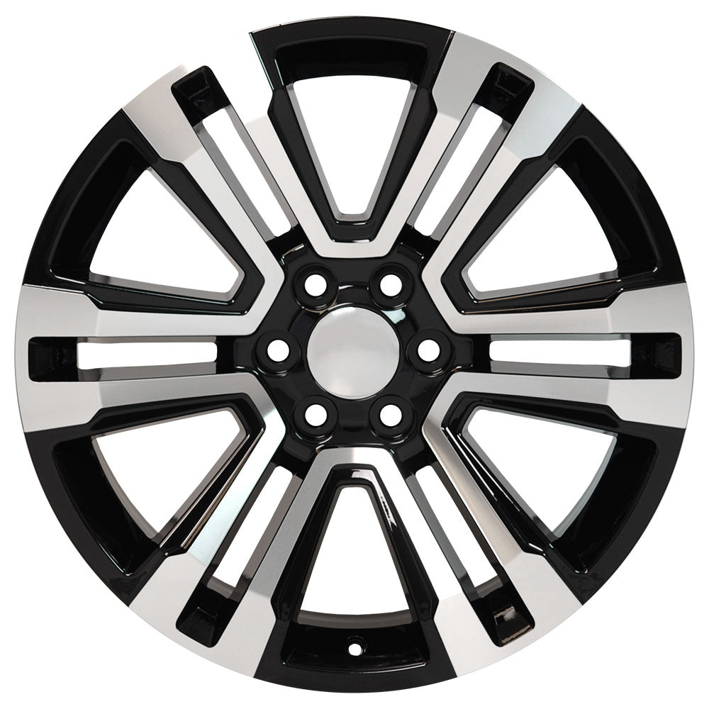 "22"" fits GMC - Denali Replica Wheel - Black Machined Face 22x9 