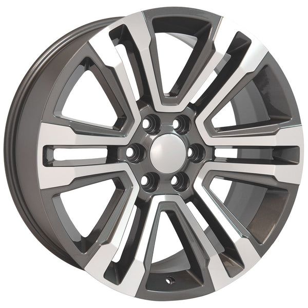 "22"" fits GMC - Denali Replica Wheel - Hyper Black Machined Face 22x9 