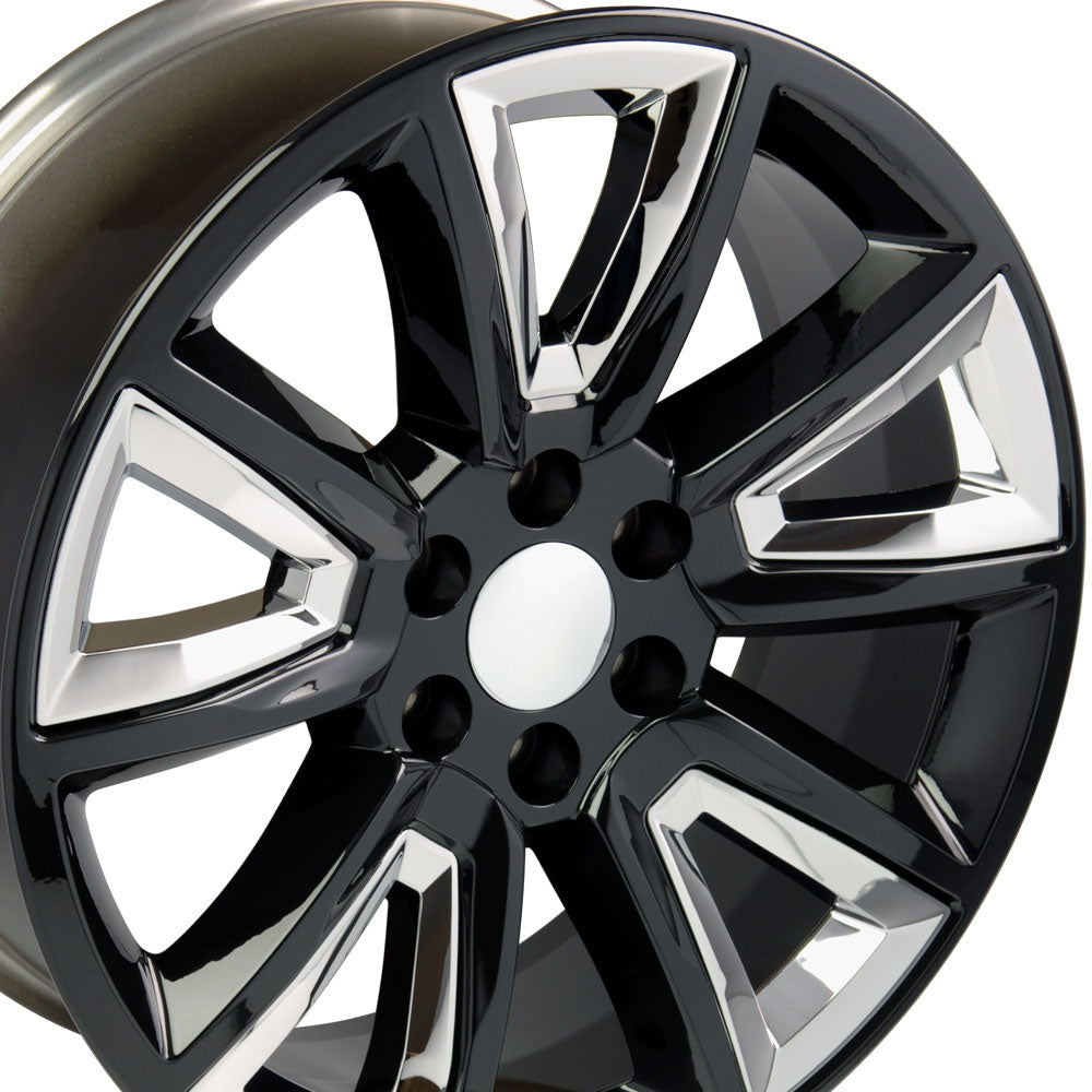 "20"" Fits Chevrolet - Tahoe Style Replica Wheel - Black with Chrome Inserts 2x8.5 