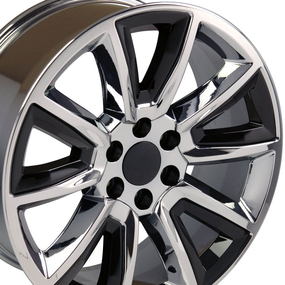 "20"" Fits Chevrolet - Tahoe Style Replica Wheel - Chrome with Black Inserts 2x8.5 