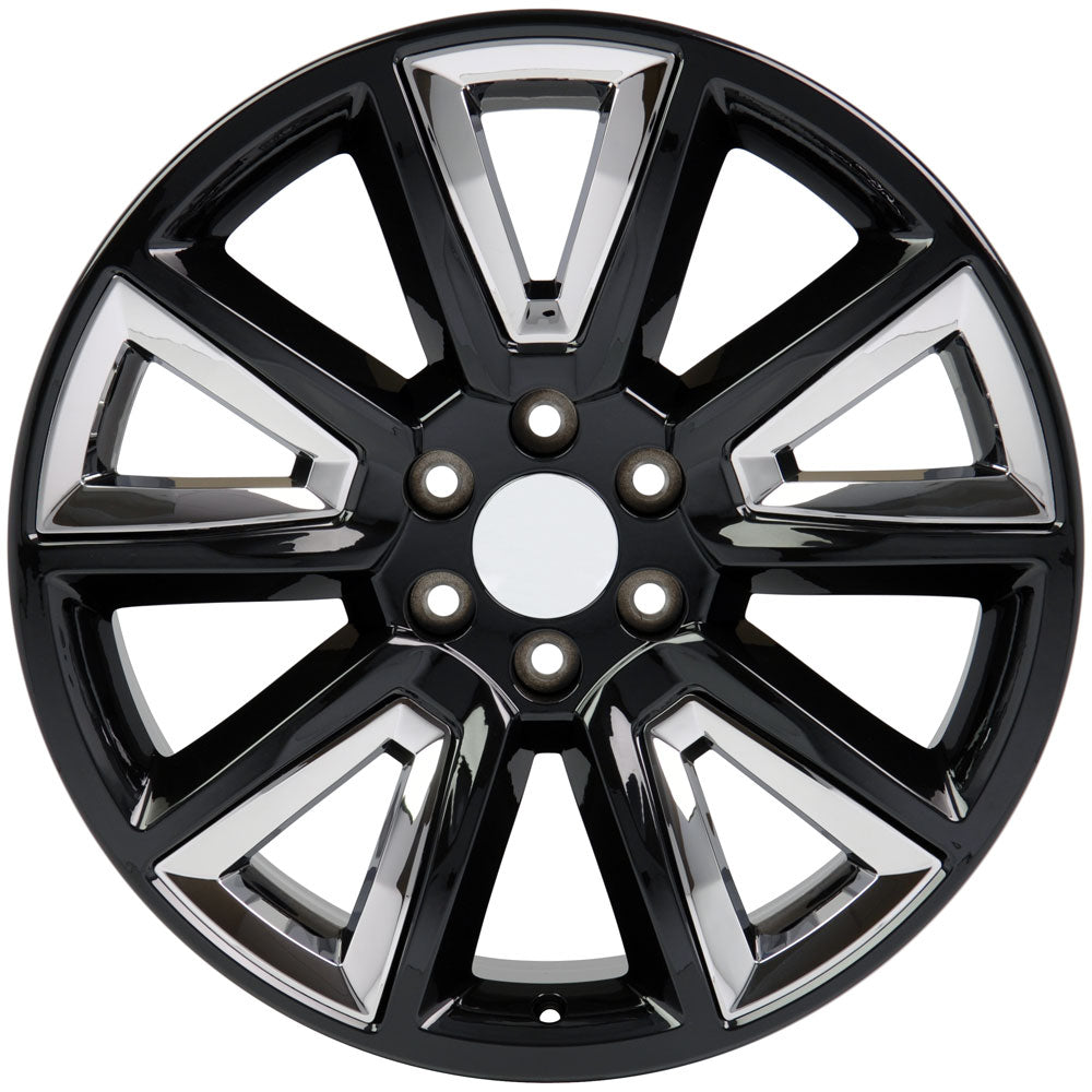 "22"" fits Chevrolet - Tahoe Replica Wheel - Black with Chrome Inserts 22x9 