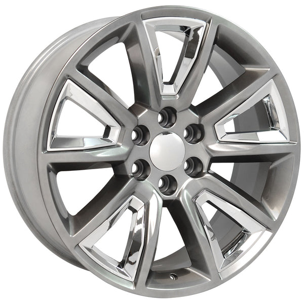 "22"" fits Chevrolet - Tahoe Replica Wheel - Hyper Black with Chrome Inserts 22x9 