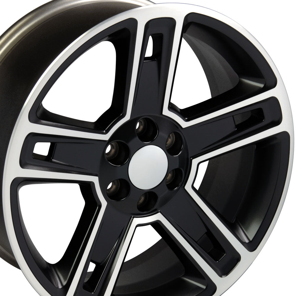 "22"" Fits Chevrolet - Silverado Style Replica Wheel - Satin Black Machined Face 22x9 