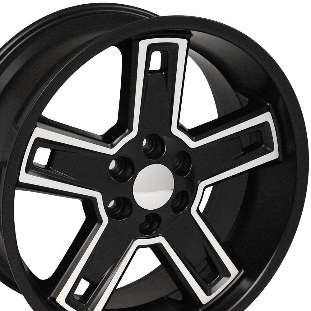 "22"" Fits Chevrolet - Silverado Deep Dish Wheel Replica - Satin Black Machined Face 22x9.5 