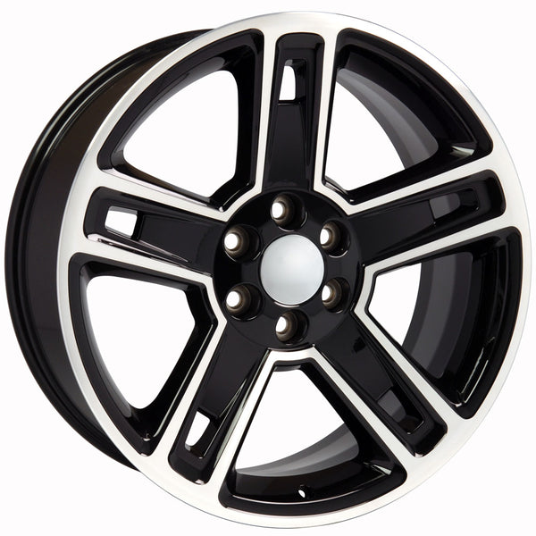 "22"" fits Chevrolet - Silverado Replica Wheel - Black Machined 22x9 