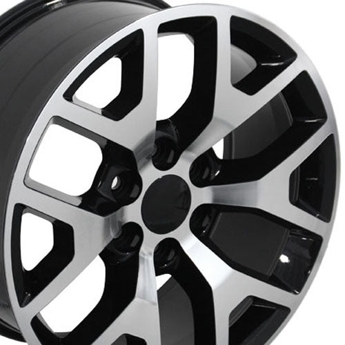 "22"" Fits GMC - Sierra 15 Style Replica Wheel - Black Mach'd Face 22x9 