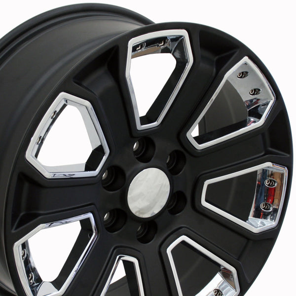"20"" Fits Chevrolet - Silverado Style Replica Wheel - Satin Black with Chrome Inserts 2x8.5 