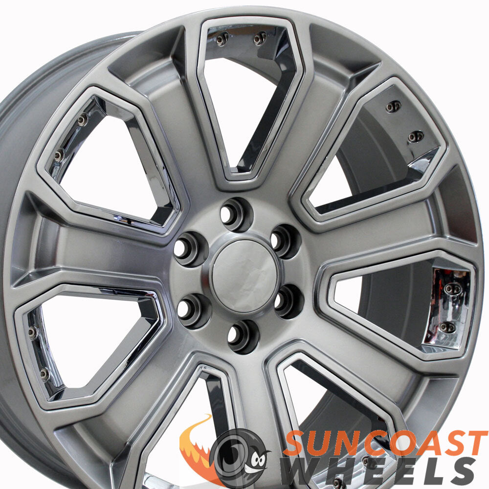 22 inch Rim Fits Silverado CV93 22x9 Hyper Black and Chrome Chevy Truck Wheel