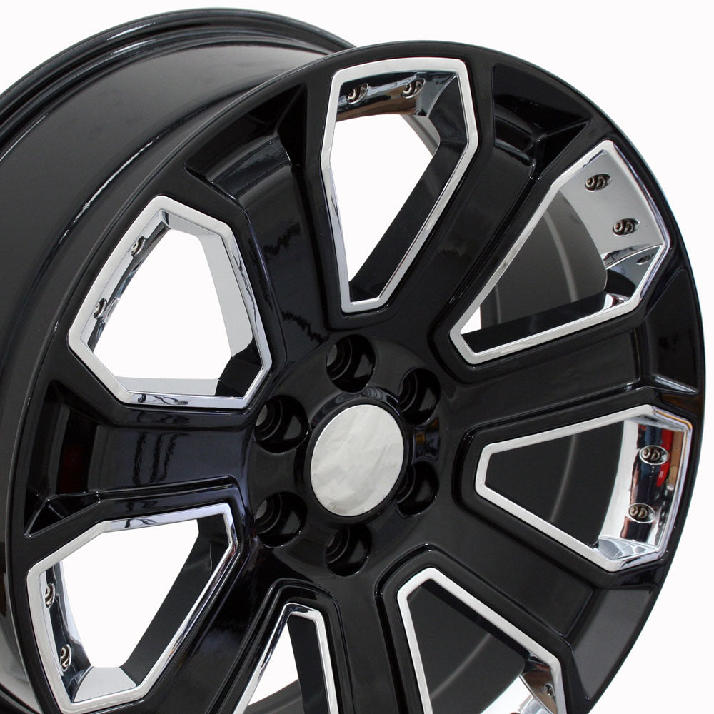 "22"" Fits Chevrolet - Silverado Style Replica Wheel - Black with Chrome Inserts 22x9 