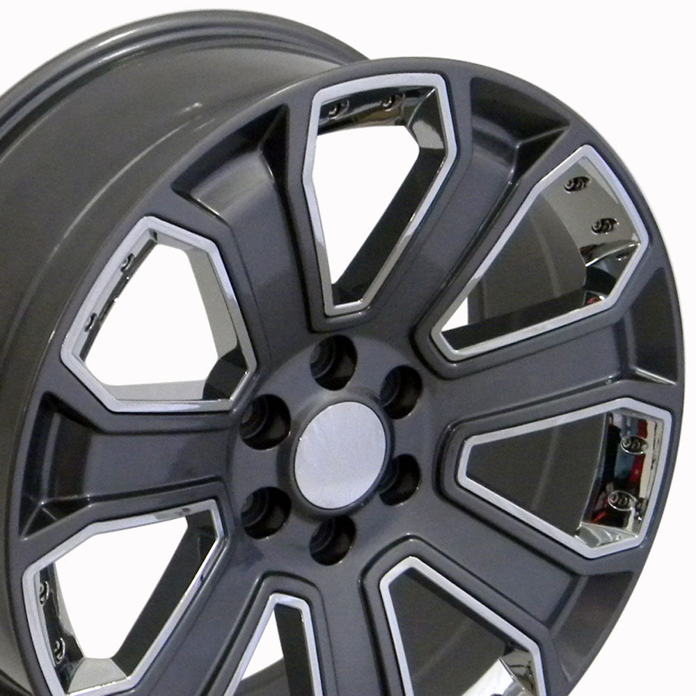 "22"" Fits Chevrolet - Silverado Style Replica Wheel - Gunmetal with Chrome Inserts 22x9 
