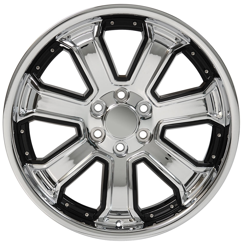"22"" fits Chevrolet - Silverado Deep Dish Wheel Replica - Chrome with Black Inserts 22x9.5 